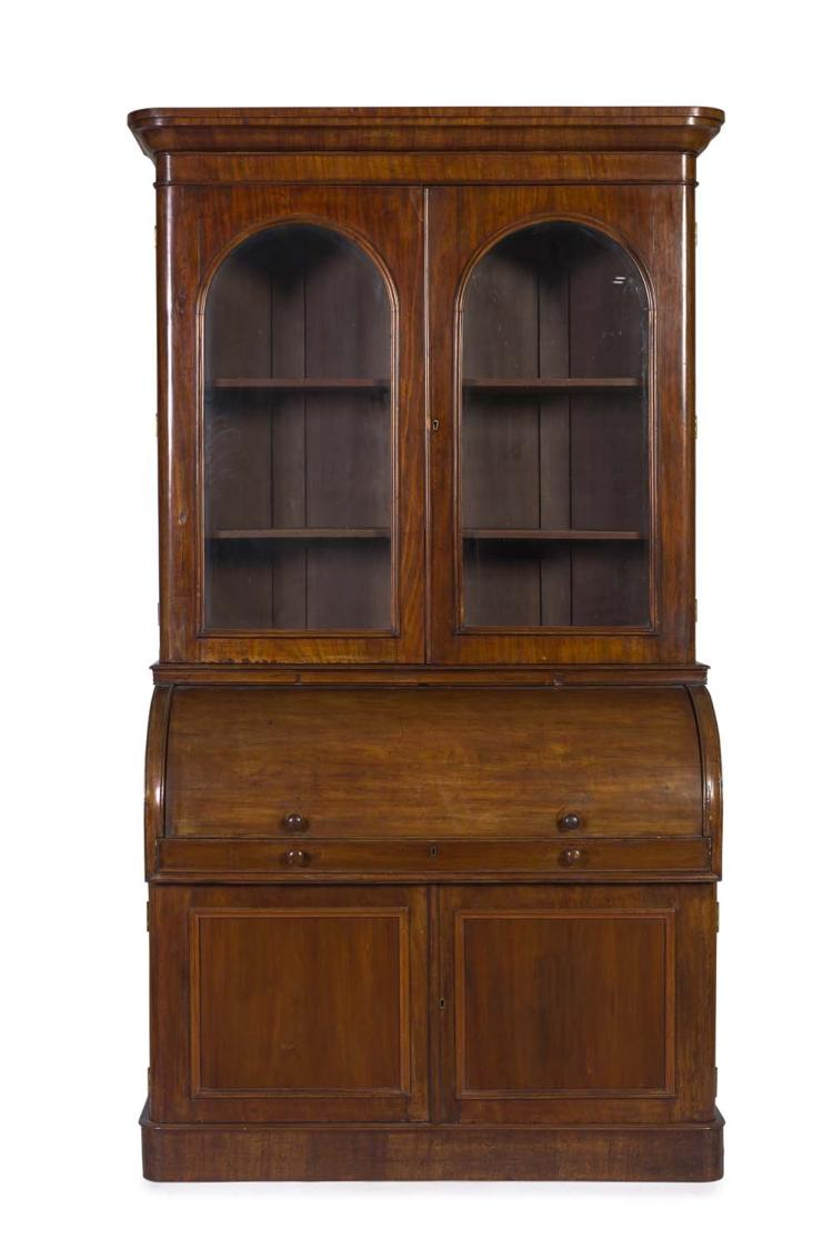 an english mahogany cylinder roll top bureau bookcase early. Black Bedroom Furniture Sets. Home Design Ideas