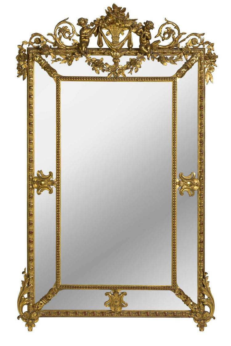 A louis xv style giltwood salon mirror french 19th century for Salon louis xv
