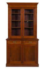 A solid fiddleback blackwood bookcase, Tasmanian origin, late 19th century