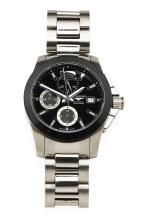 A Gentleman's stainless steel Conquest 300m/1000ft chronograph wristwatch, Longines, circa 2010's. Automatic. 41mm. Ref: L3.661.4. Tourneau-shaped case with circular black dial, applied baton numerals and Arabic 12. Centre sweep seconds and three registers. Case, dial, movement and original bracelet signed.