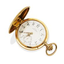 A Gentleman's gold hunter pocket watch, Julius Assmann, Glashutte. 50mm. Crown wind. Movement number 14212. Case, dial and movement signed. Plain polished case. 14ct rose gold. Total weight 117.11 grams.