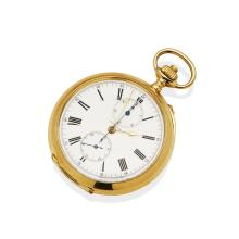 A Gentleman's gold openface pocket stopwatch, Longines. 52mm. Crown wind. Case, dial and movement signed. Plain polished case. 14ct yellow gold. Total weight 110.85 grams.
