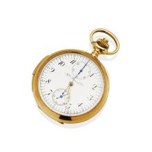 A Gentleman's gold openface minute repeating pocket watch, Henry Moser & Cie. 50mm. Crown wind. Case and dial signed. Plain polished case. 14ct rose gold. Total weight 97.45 grams.