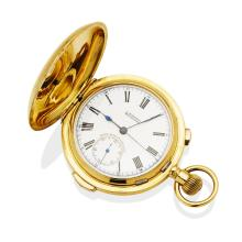 A Gentleman's gold minute repeating hunter pocket watch, L. Balkind, Melbourne. 52mm. Crown wind. Case, dial and movement signed. White enamel dial, black Roman numerals, sweep seconds, subsidiary seconds and split-seconds chronograph mechanism operated by a button in the crown, Louis XV hands. Case initialled to the front and plain polished to the reverse. 18ct yellow gold. Total weight 119.32 grams.