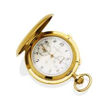 A Gentleman'sgold hunter chronograph pocket watch, Vacheron & Constantin. 55mm. Crown wind. Movement number 569955. Case number 229459. Case, dial, cuvette and movement signed. Plain polished case. 18ct yellow gold. Total weight 170.09 grams.
