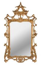 An exceptional giltwood Chinoiserie wall mirror, English, 18th century