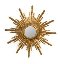 A carved giltwood convex sunburst mirror, French, circa 1950