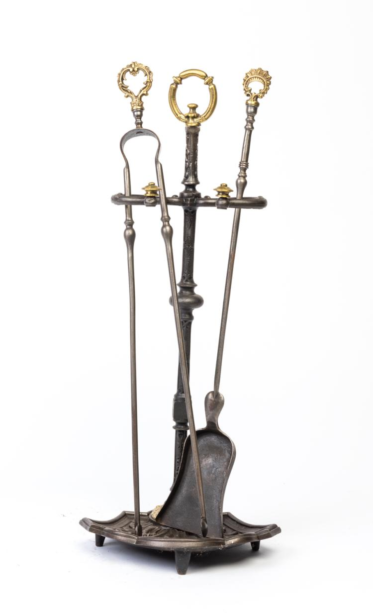 A set of cast iron and bronze fire tools and stand French 1