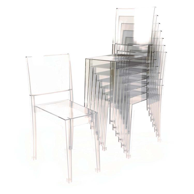 A set of eight crystal la marie chairs designed by phillip s for Chaise la marie starck