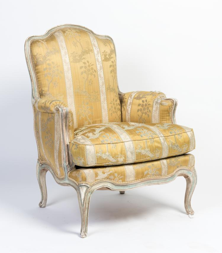 A Louis XV Style Painted Armchair French 19th Century Upho