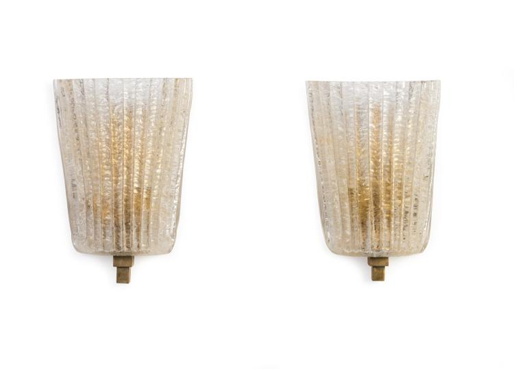 Gold Glass Wall Lights : A pair of gold speckled Murano glass wall lights with polish