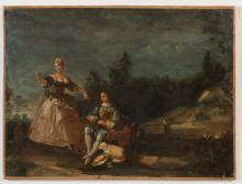 FRENCH SCHOOL A Man Playing Pipes with a Young Lady in a Landscape, 18th century