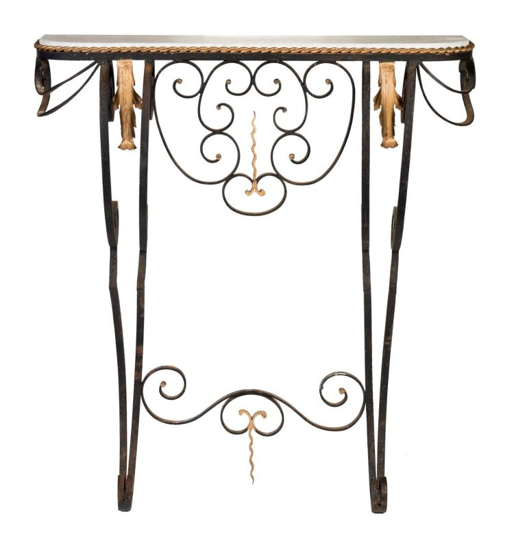 Linus 79cm White Marble Coffee Table: A Wrought Iron And Carrara Marble Petit Console Table, Frenc