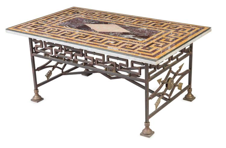 A Fine Speciman Marble Bronze And Cast Iron Coffee Table Co