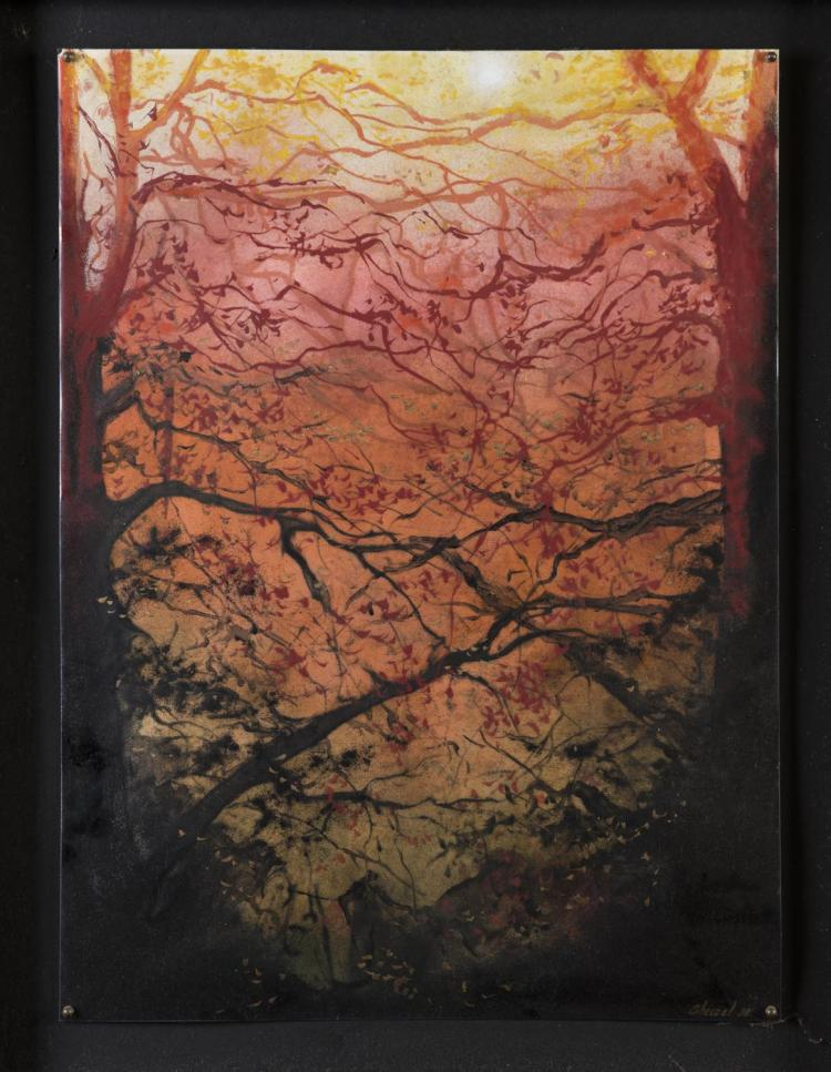 DEBORAH SHEEZEL (ACTIVE 1970-1985)Sunset, 1980vitreous enamelsigned and dated lower right: Sheezel 80signed, dated and titled verso: Deborah Sheezel 1980 Sunset60.5 x 45 cm
