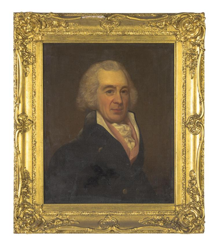 IN THE STYLE OF GEORGE ROMNEY (19TH CENTURY)Portrait of R. B. Sheridanoil on canvastitled and inscribed verso: R.B. SHERIDAN G ROMNEY59 x 48 cm