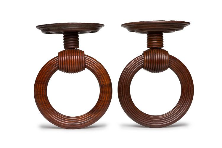A rare pair of turned and reeded mahogany drapery rings, English, 19th century