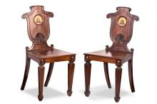 A pair of George lll mahoganyhall chairs,by Thomas and G Seddon, London, English, circa 1820PROVENANCEMartyn Cook Antiques, Sydney