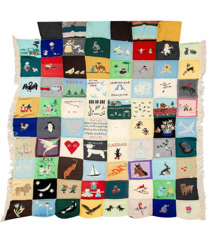The Marjorie Bligh,Tasmania (1917-2013) autobiographical quilt, comprising of seventy-two pictorial knitted panels, dated 1966