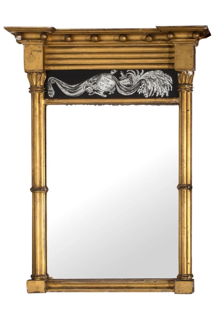 A Regency Giltwood Mirror Eglomise Glass Panel 39 Ourr Injure
