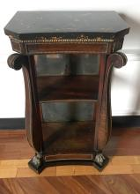 A William IV rosewood pier table, faux marble top, mirror back, ebonised base.English 19th century.94cm high, 50cm deep, 31.5cm deepPROVENANCE Martyn Cook Antiques Sydney