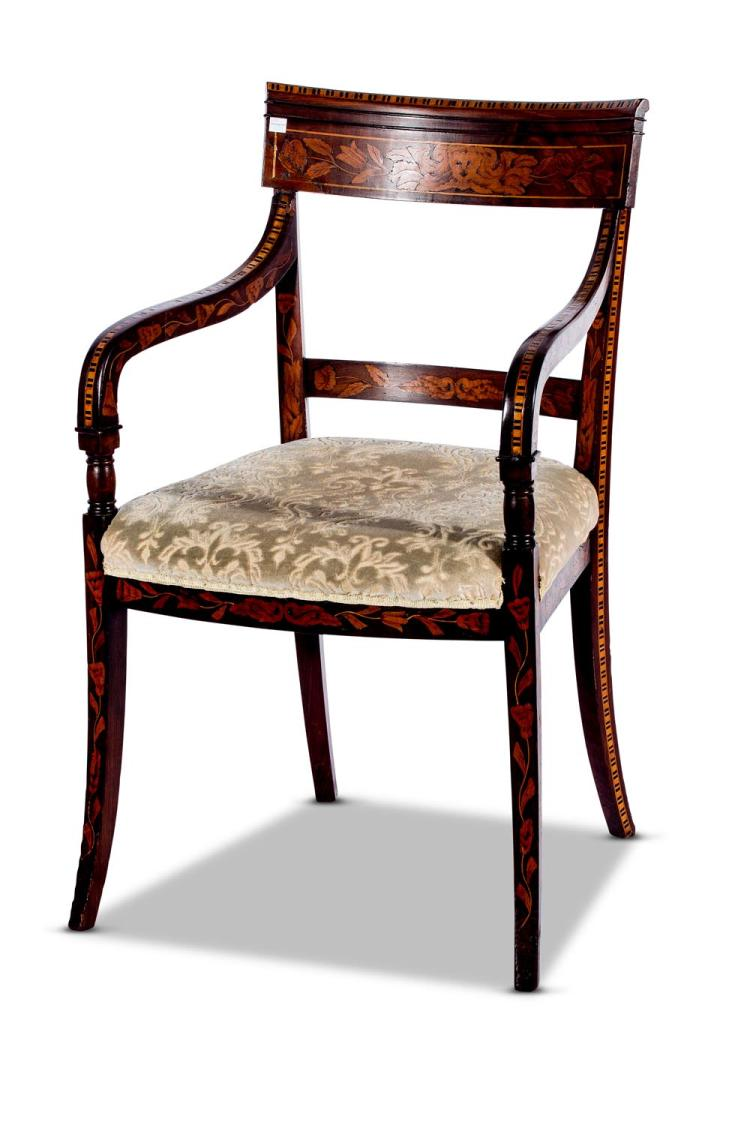 A marquetry inlaid armchair, Dutch, 19th century