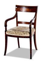 A marquetry inlaid armchair, Dutch, 19th century