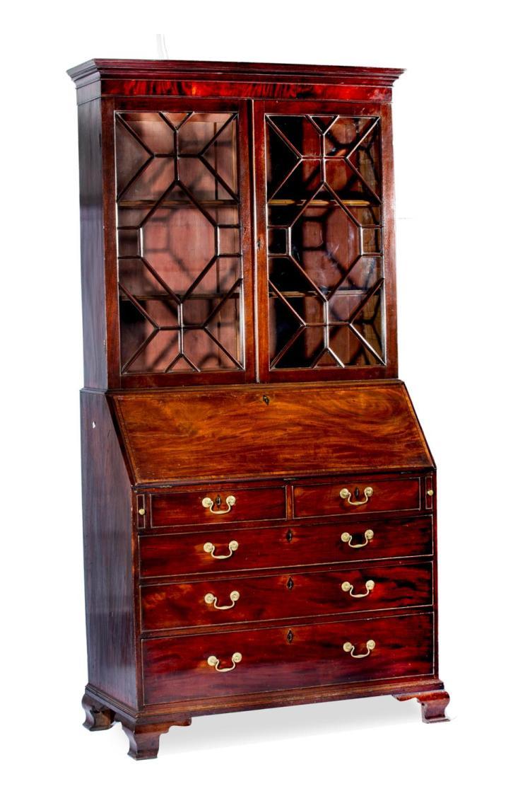 A Georgian mahogany bureau bookcase, English, 19th century