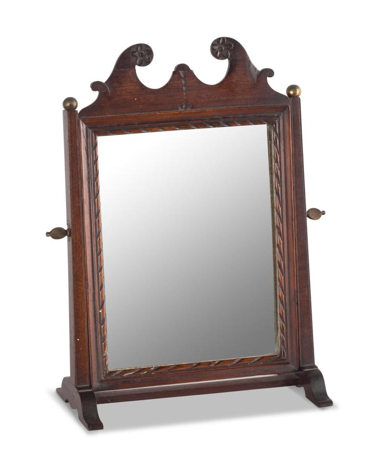 A Georgian mahogany dressing table mirror, English, early 19th century