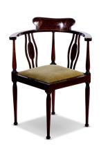 An Edwardian mahogany corner chair, English, 20th century