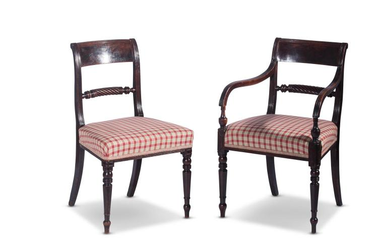 A set of 12 Regency mahogany dining chairs, 10 singles, 2 carvers, English, circa 1810