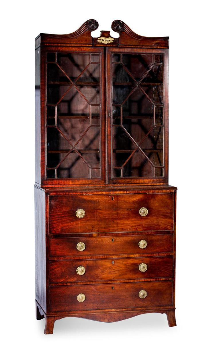 A Regency mahogany secretaire bookcase, English, 19th century