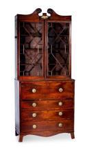 A Regency mahogany secretaire bookcase, English, 19th century