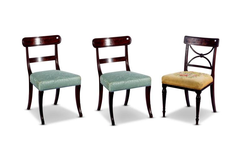 A pair of Regency dining chairs plus another, English, 19th century