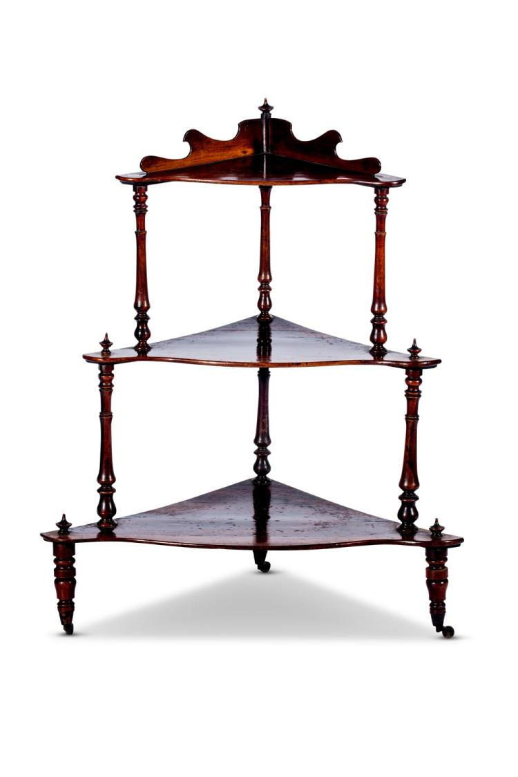 A Victorian Brazilian rosewood corner whatnot, English, circa 1850