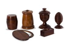 A collection of 6 Treen boxes, English, 19th century