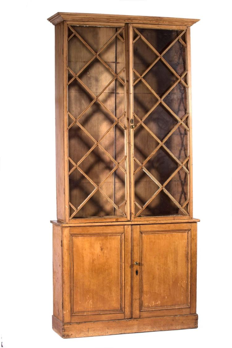 A Georgian pine bookcase, English, 18th century