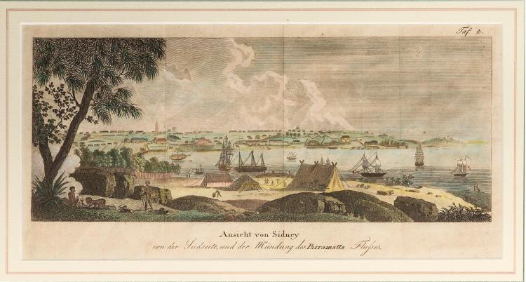 A framed hand coloured copper engraving, view of Sydney. Linder, 1816