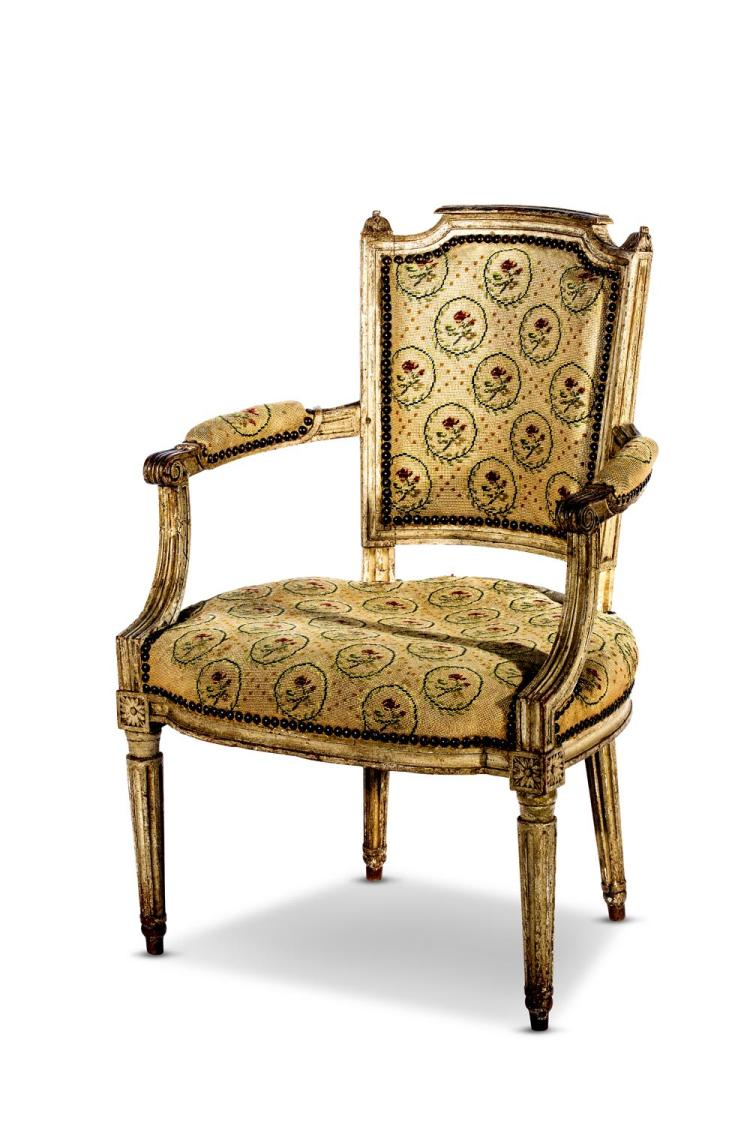 A French painted armchair with needlework coverings, late 18th century