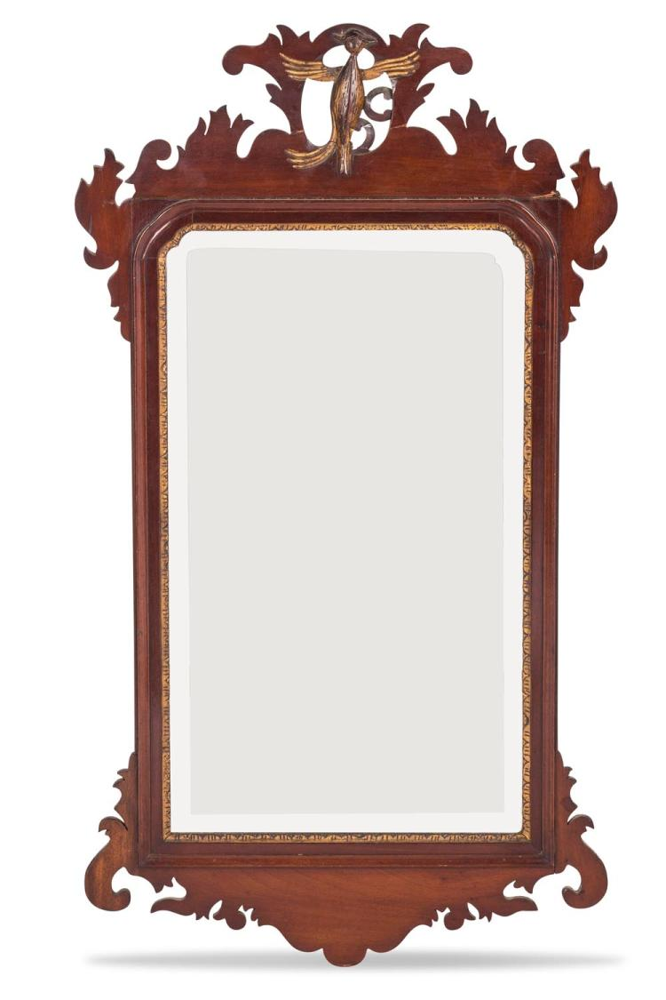 A mahogany Ho Ho mirror, English, 19th century
