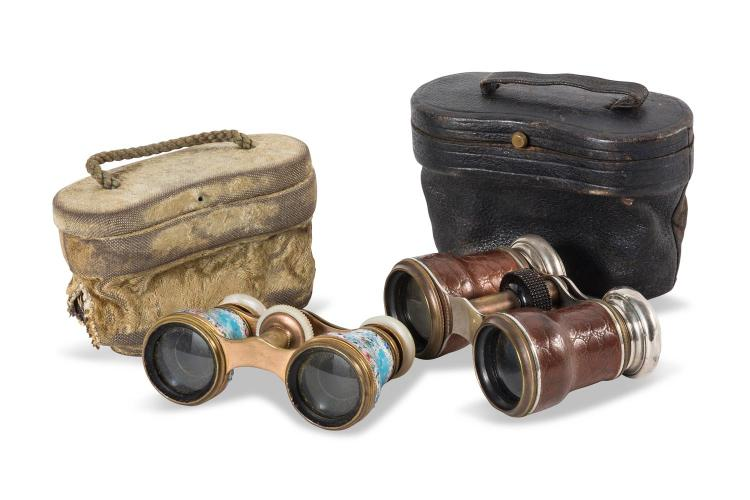 Two pairs of opera glasses, one with enamel to the case, French, 19th century