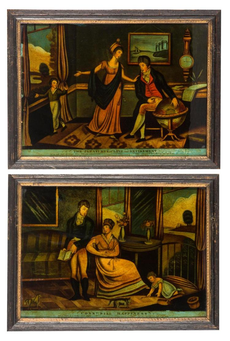 A pair of back paintings on glass, 'Connubial Happines', 'The Pleasures of Love and Retirement'. English, 19th century