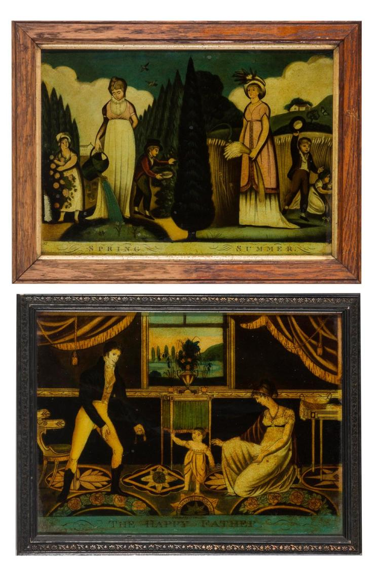 Two back paintings on glass, 'The Happy father', 'Spring Summer'. English, 19th century