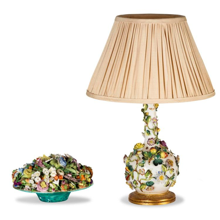 A Coalbrookdale style lamp base and a table ornament
