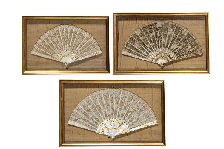 A collection of three cased lacework fans, English, 19th century