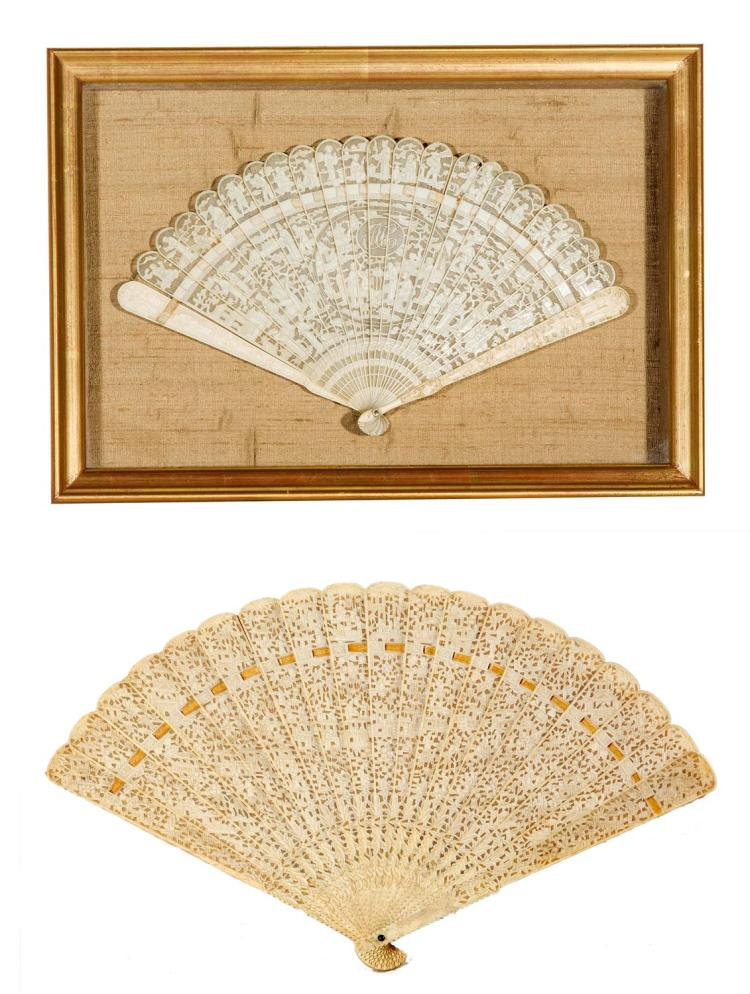 A framed ivory fan with a mounted ivory fan, English, 19th century