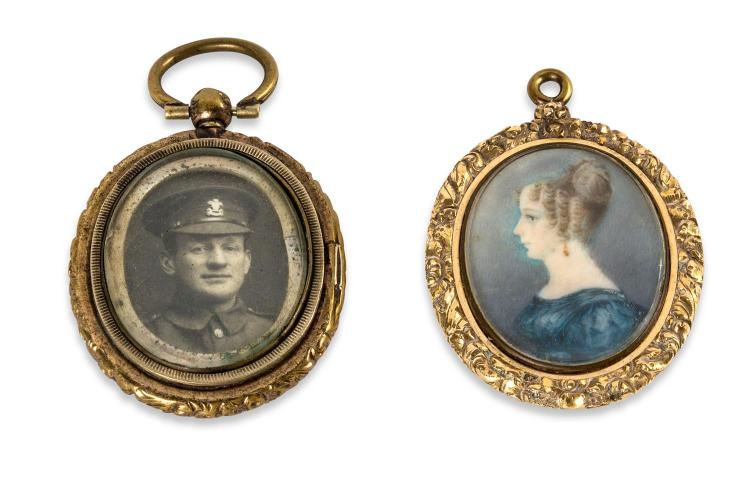 Two antique lockets, one with a miniature portrait