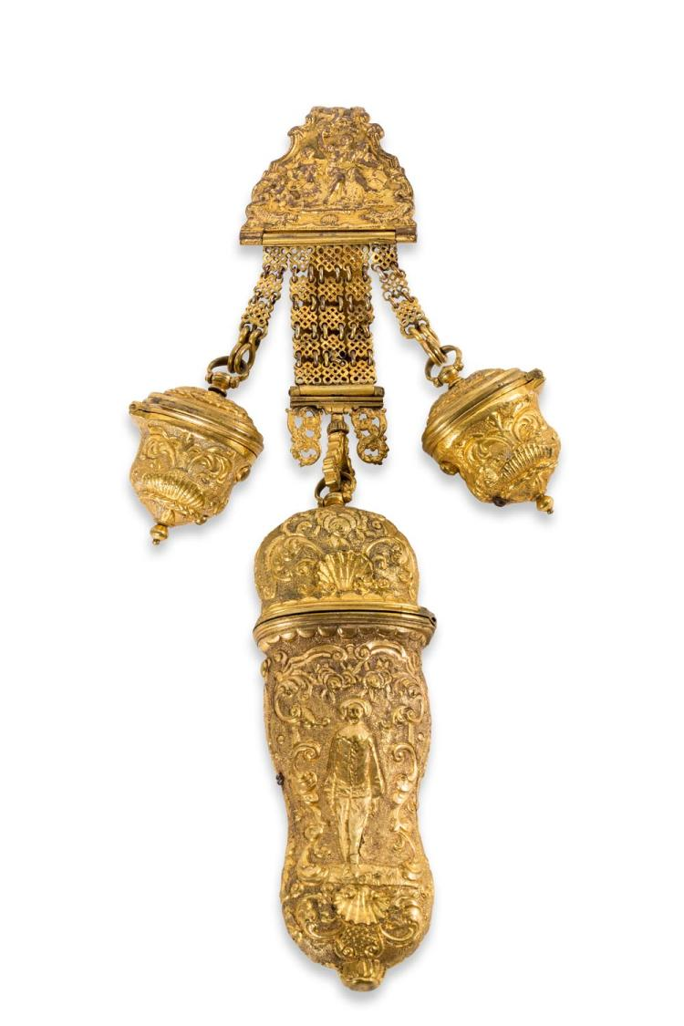 A Georgian gilt metal chatelaine complete with etui, English, 18th century