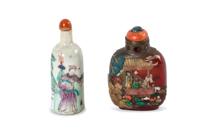 Two Chinese snuff bottles, one amber and overlaid with hard stone decoration