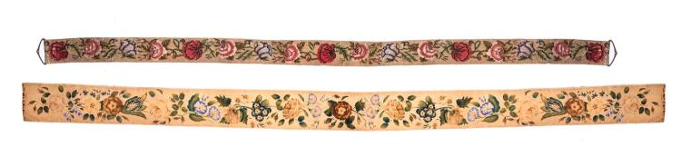 Two Victorian needlework 'Bell Pulls', English, 19th century